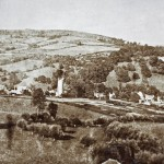 Black and white photo with a View of Northend and Bannerdown from Little Solsbury 1860